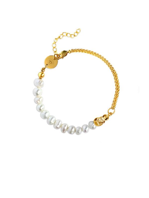 bransoletka złota z perłami