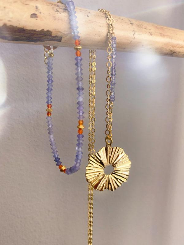 Bransoletka z karneolu i tanzanitów - z naszyjnikiem - Iluzja Jewellery