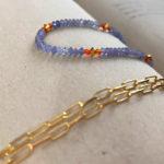 Bransoletka z karneolu i tanzanitów- zbliżenie - Iluzja Jewellery