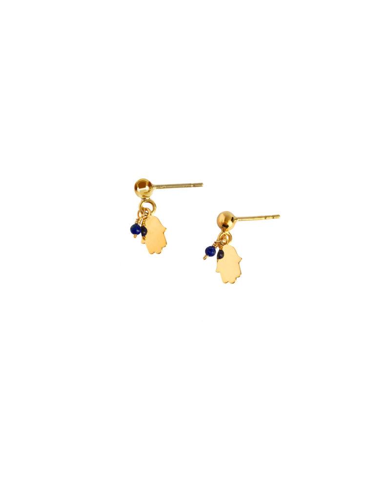 kamień ochronny i kamień uzdrawiający w kolczykach Tiny Hamsa Iluzja Jewellery
