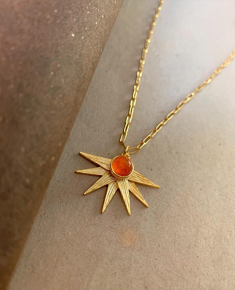 naszyjnik z kamieniem słonecznym Alcyone - Iluzja Jewellery