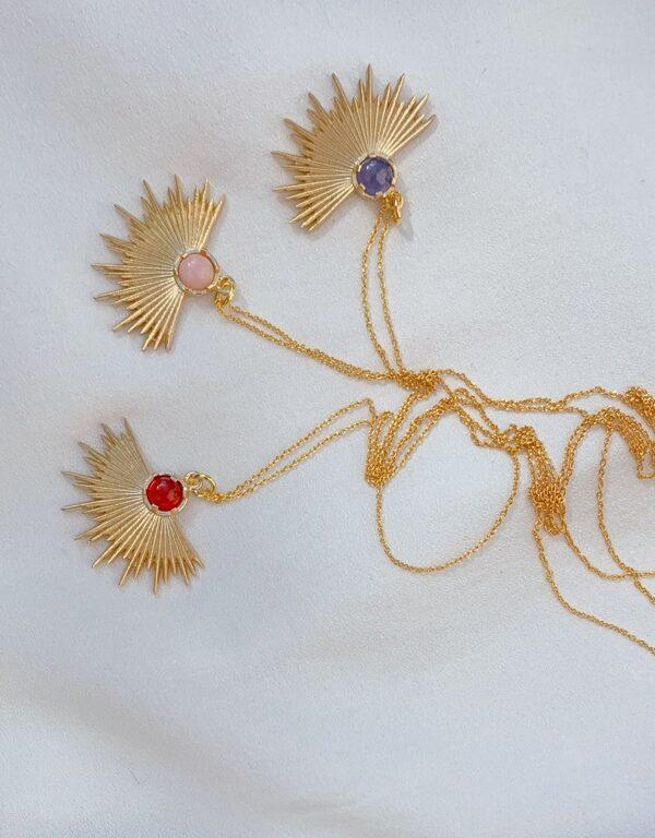 złoty naszyjnik z tanzanitem Iluzja Jewellery_do wyboru karneol i opal różowy