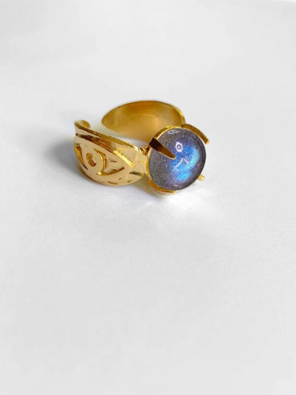 Pierścionek z labradorytem Labradorite Eye Iluzja Jewelelry
