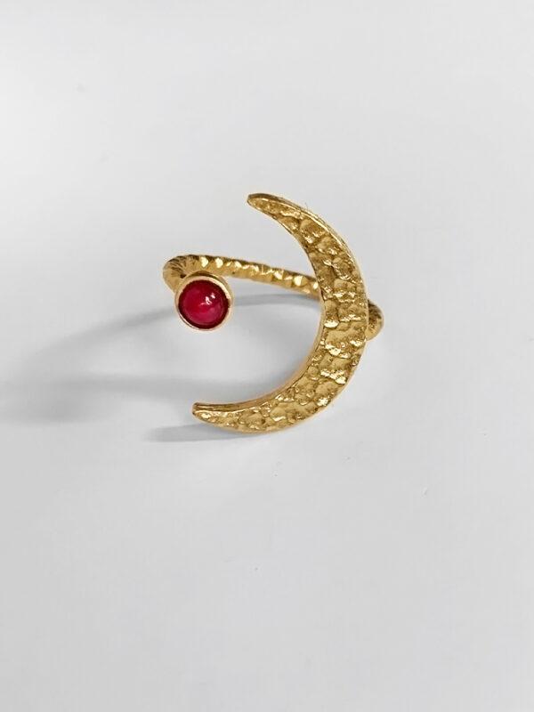 Pierścionek z rubinem Mighty Moon Iluzja Jewellery złoty pierścionek, biżuteria z rubinem
