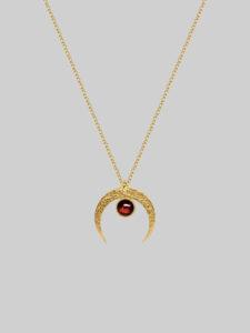 lunula z granatem księżyc złoty iluzja jewellery