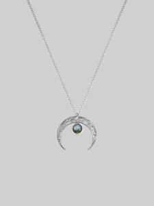Naszyjnik księzyc z labradorytem lunula labradoryt iluzja jewellery