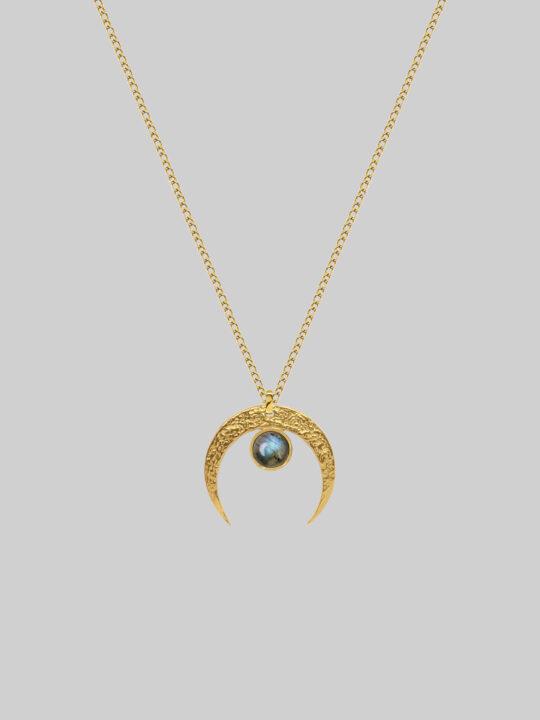 lunula złota z labradorytem iluzja jewellery