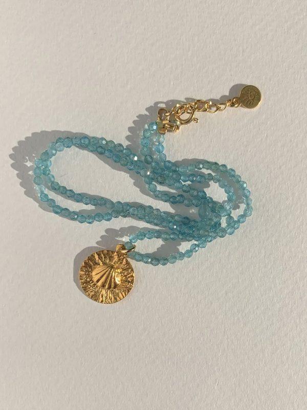 naszyjnik z apatytem muszelką iluzja jewellery