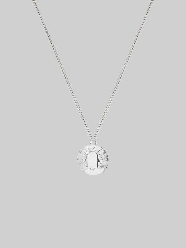 Naszyjnik z medalikiem Guardian Hamsa Silver
