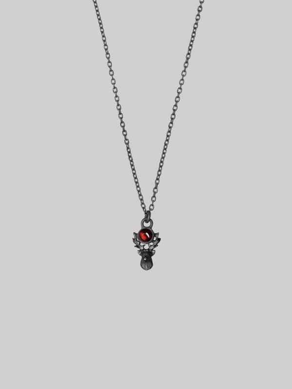Naszyjnik z jeleniem deer garnet iluzja jewellery