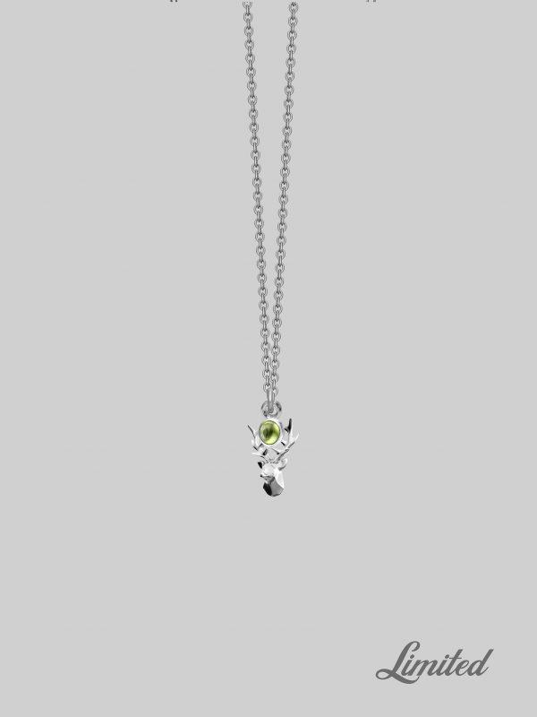 Srebrny łańcuszek z zawieszką Deer Peridot Iluzja Jewellery