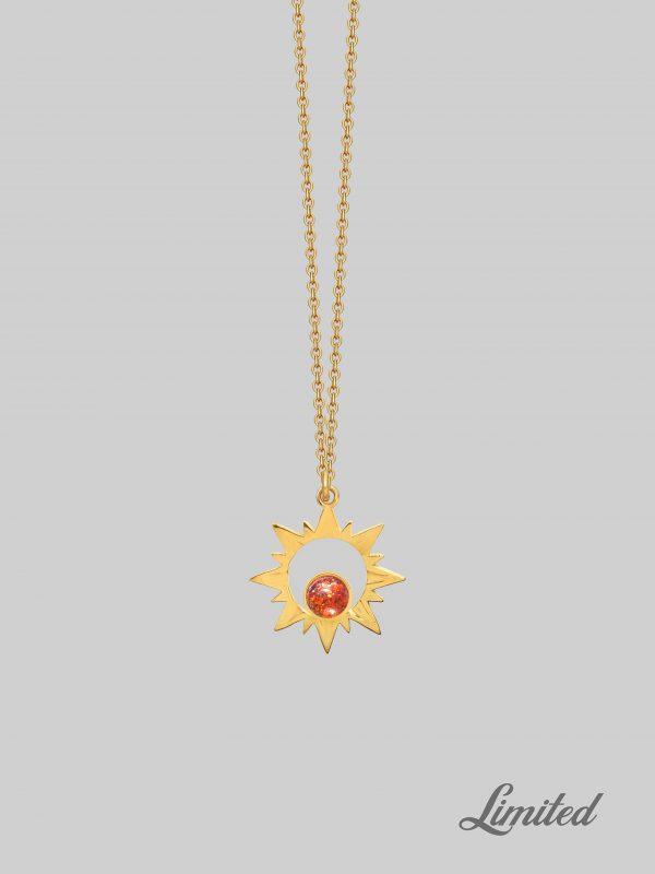 Złoty naszyjnik z zawieszką Blazing Sun Light Gold iluzja jewellery
