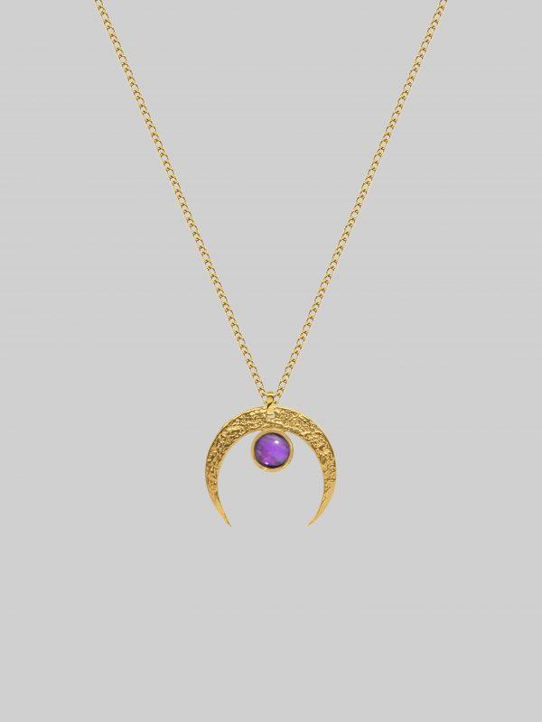 naszyjnik z fioletowym kamieniem Luna of Intuition Gold Iluzja Jewellery