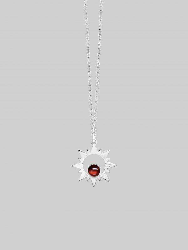Naszyjnik z granatem Romantic Sun Light Silver iluzja jewellery