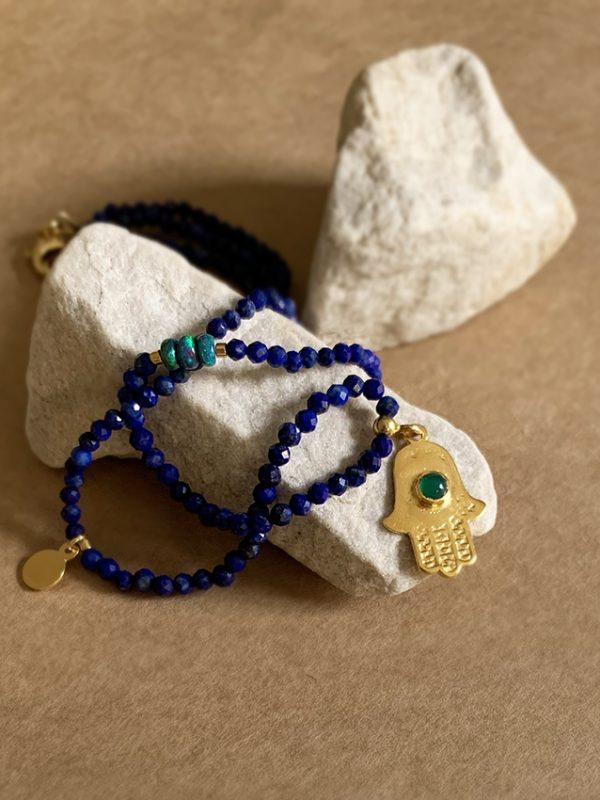 Ręka hamsa lapis lazuli opal iluzja jewellery