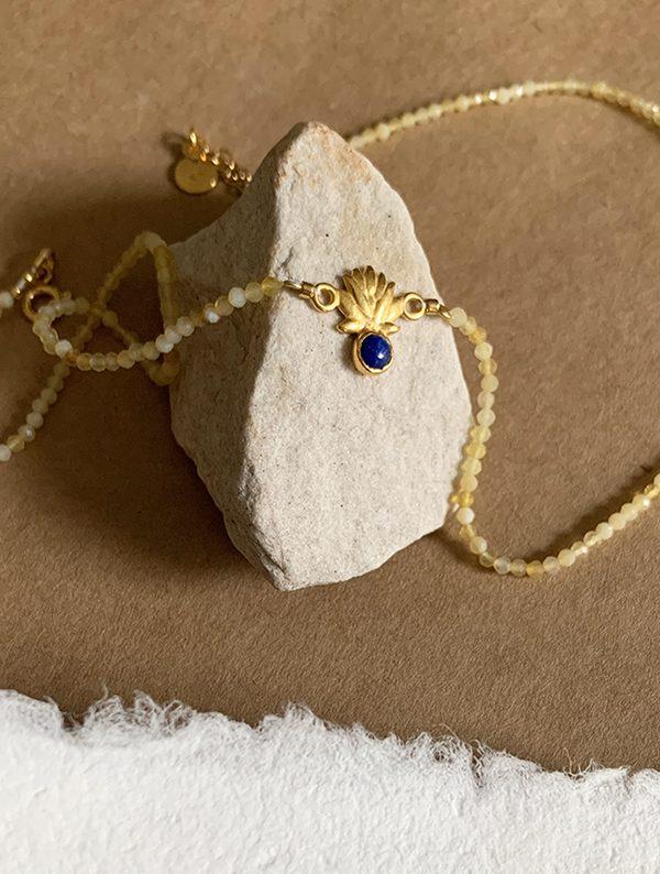 naszyjnik z lotosem lapis lazuli iluzja jewellery